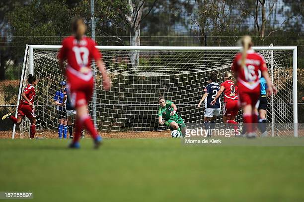 Brianna Davey of Melbourne makes a save during the round seven WLeague match between Adelaide United and the Melbourne Victory at Burton Park on...