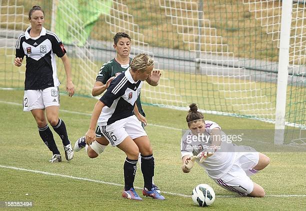 Brianna Davey of Melbourne Victory dives on a loose ball during the round nine WLeague match between Canberra United and the Melbourne Victory at...