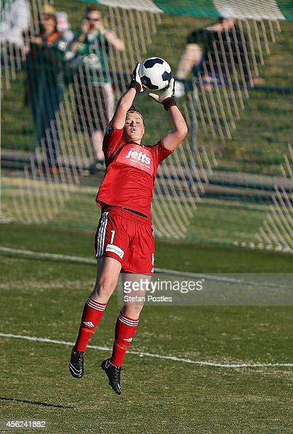 Brianna Davey of Melbourne Victory stops a shot on goal during the round three WLeague match between Canberra and Melbourne Victory at McKellar Park...