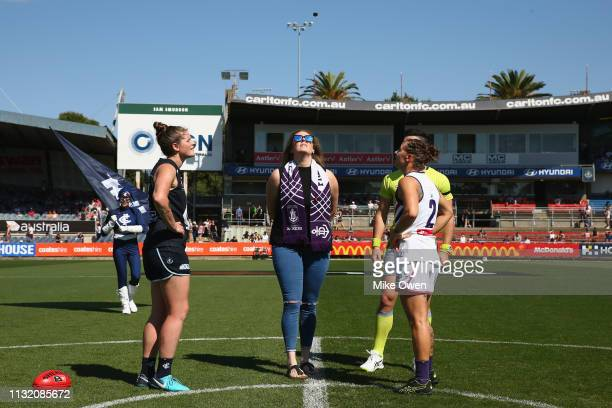 Brianna Davey of the Blues and Kiara Bowers of the Dockers take part in the coin toss prior to the AFLW Preliminary Final match between the Carlton...