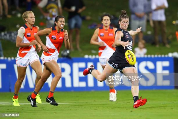 Brianna Davey of the Blues shapes to kick during the round 20 AFLW match between the Greater Western Sydney Giants and the Carlton Blues at Drummoyne...