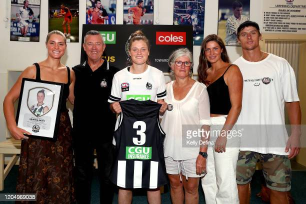 Brianna Davey of the Magpies poses after her guernsey presentation during the round one AFLW match between the Collingwood Magpies and the West Coast...