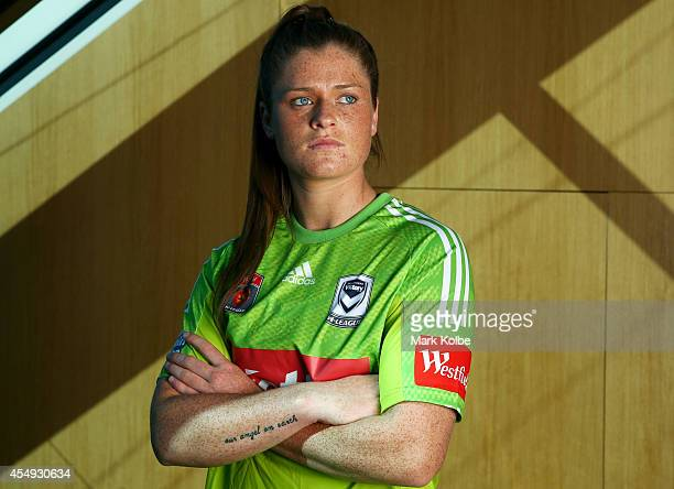 Brianna Davey of the Melbourne Victory poses during the WLeague season launch at the Westfield Offices on September 8 2014 in Sydney Australia
