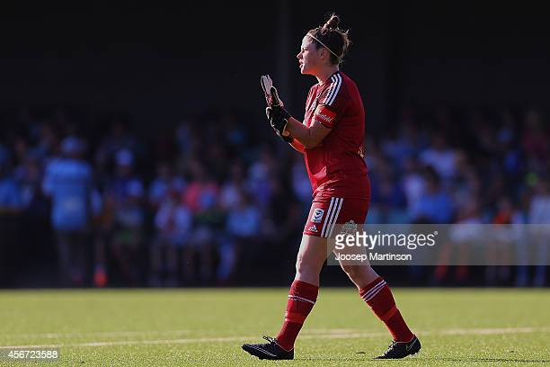 Brianna Davey of the Victory looks on during the round four WLeague match between Sydney and Melbourne at Lambert Park on October 6 2014 in Sydney...