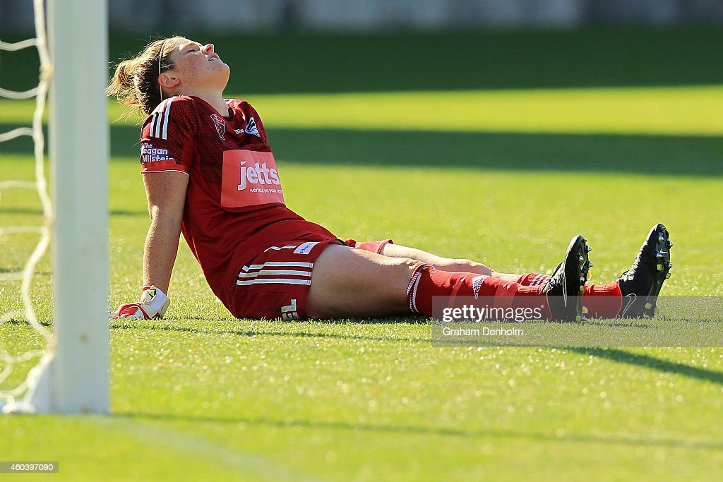 Brianna Davey of the Victory reacts after not saving a penalty during the W-League Semi Final match between Melbourne Victory and Canberra United at Simonds Stadium on December 13, 2014 in Geelong, Australia.