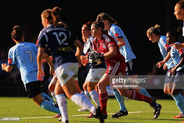Brianna Davey of the Victory runs with the ball during the round four WLeague match between Sydney and Melbourne at Lambert Park on October 6 2014 in...
