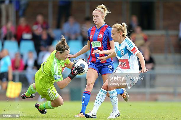 Brianna Davey of the Victory saves a goal during the round one WLeague match between the Newcastle Jets and the Melbourne Victory at Magic Park on...