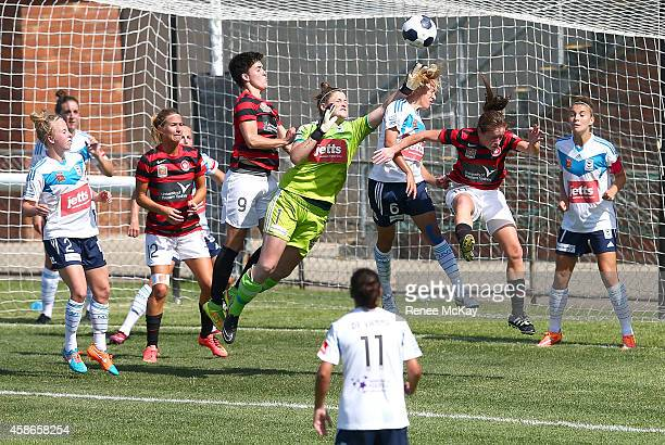 Brianna Davey of the Victory stops a Wanderers goal during the round nine WLeague match between Western Sydney and Melbourne at Marconi Stadium on...