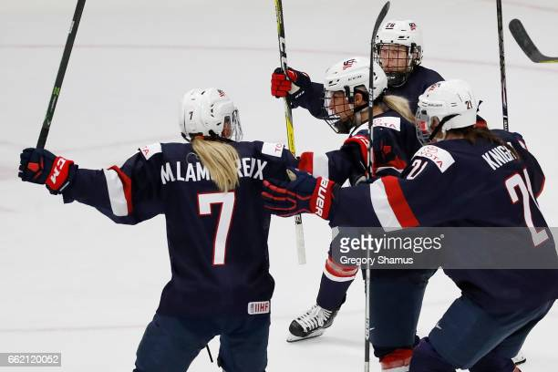Brianna Decker of United States celebrates her second period goal against Canada with Hilary Knight, Monique Lamoureux and Kendall Coyne at the 2017...