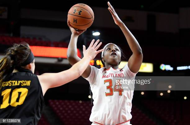 Brianna Fraser of the Maryland Terrapins drive to the hoop against the Iowa Hawkeyes at Xfinity Center on January 4 2018 in College Park Maryland