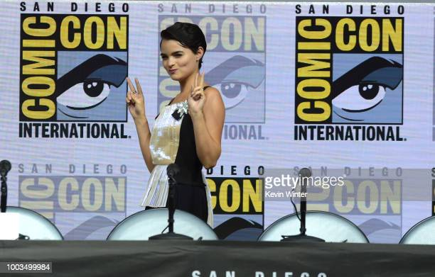 Brianna Hildebrand speaks onstage at the Deadpool 2 panel during ComicCon International 2018 at San Diego Convention Center on July 21 2018 in San...