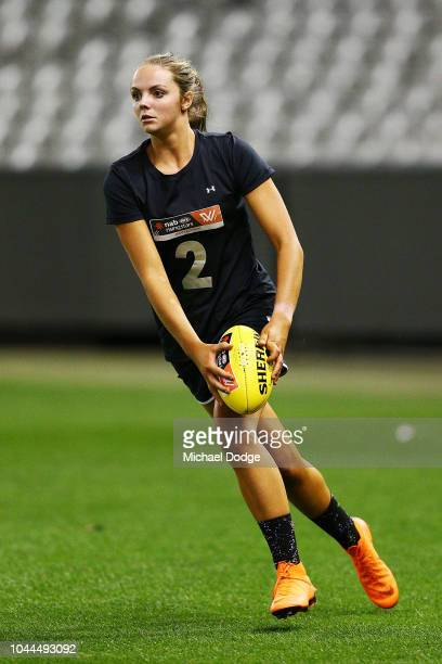 Brianna McFarlane runs with the ball during the AFLW Draft Combine at Etihad Stadium on October 2 2018 in Melbourne Australia