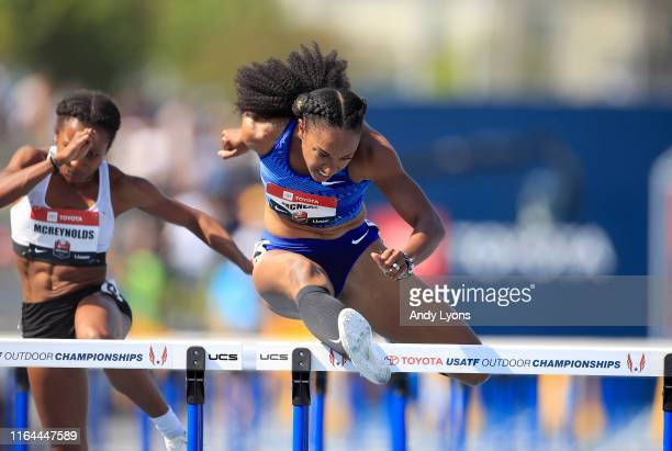 Brianna McNeal clears a hurdle in the opening round of the 100 meter hurdles during the 2019 USATF Outdoor Championships at Drake Stadium on July 25...