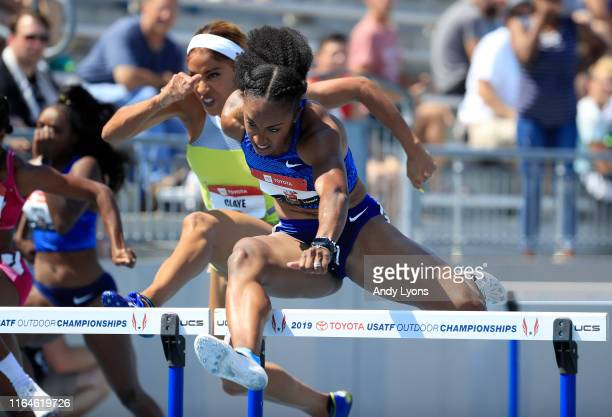 Brianna McNeal clears a hurdle in the semifinal of the 100 meter hurdles during the 2019 USATF Outdoor Championships at Drake Stadium on July 27 2019...