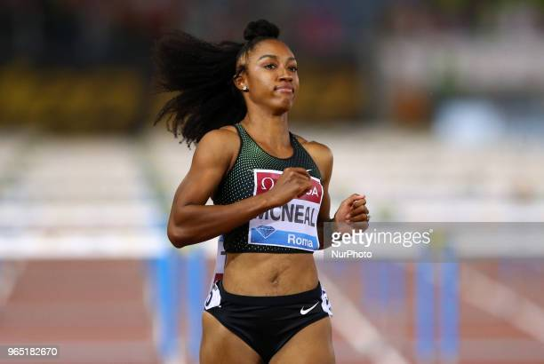 Brianna McNeal competes in 100m hurdles women during Golden Gala Iaaf Diamond League Rome 2018 at Olimpico Stadium in Rome Italy on May 31 2018