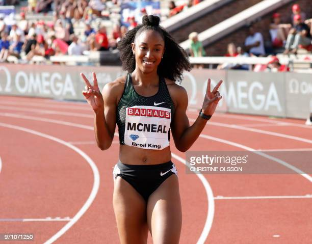 Brianna McNeal from USA reacts after winning the women's 100m hurdles event at the IAAF Diamond League 2018 meeting at Stockholm Olympic Stadium in...