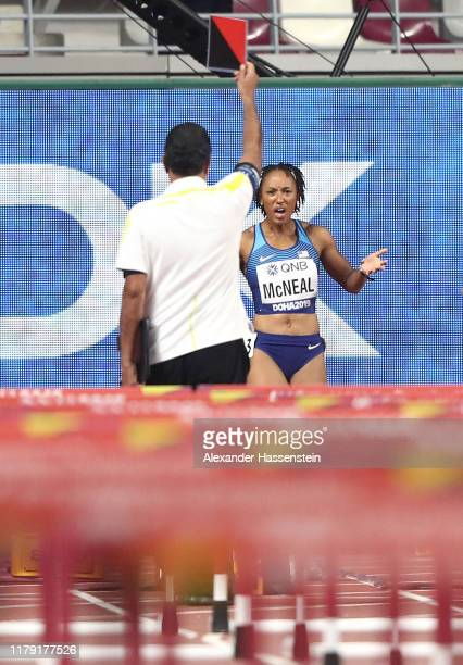 Brianna McNeal of the United States reacts after being disqualified in the Women's 100 Metres Hurdles heats during day nine of 17th IAAF World...
