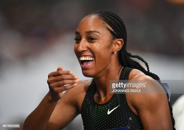 Brianna McNeal of the United States reacts after winning in the women's 100m hurdle event of the IAAF Diamond League Shanghai athletics competition...
