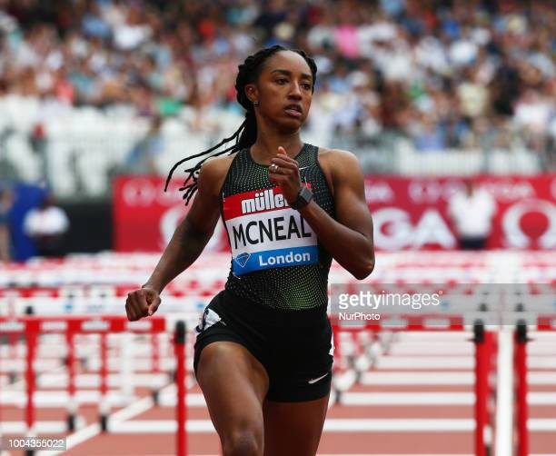 Brianna McNeal of USA winner of the 100m Hurdles Women Heat B race during the Muller Anniversary Games IAAF Diamond League Day Two at The London...