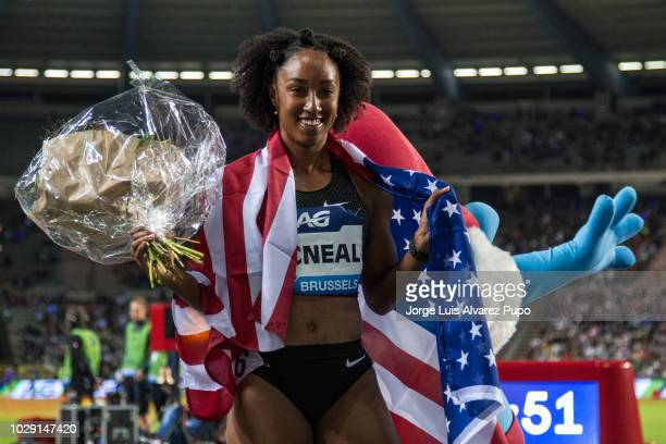 Brianna McNeal of USAcelebrates the victory during Women's 100m hurdles of the AG Insurance Memorial Van Damme as part of the IAAF Diamond League...
