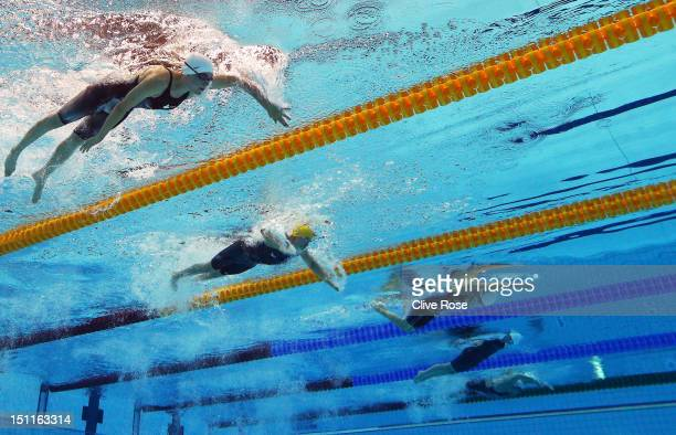 Brianna Nelson of Canada Jacqueline Freney of Australia Min Huang of China Nikita Howarth of New Zealand and Oxana Guseva of Russia compete in the...