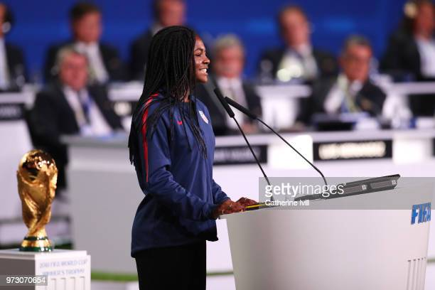 Brianna Pinto US U20 International speaks during the United 2026 presentation to become the host for the 2026 FIFA World Cup during the 68th FIFA...