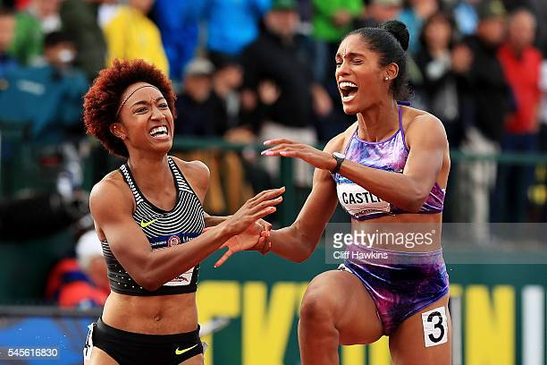 Brianna Rollins and Kristi Castlin celebrate after the Women's 100 Meter Hurdles Final during the 2016 US Olympic Track Field Team Trials at Hayward...