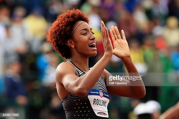 Brianna Rollins celebrates after placing first in the Women's 100 Meter Hurdles Final during the 2016 US Olympic Track Field Team Trials at Hayward...