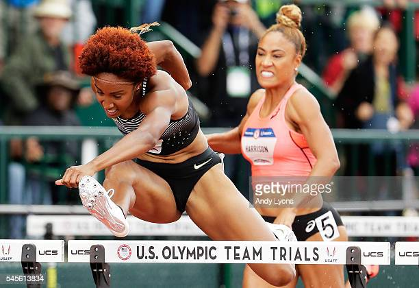 Brianna Rollins competes on her way to placing first in the Women's 100 Meter Hurdles Final during the 2016 US Olympic Track Field Team Trials at...