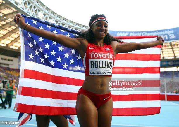 Brianna Rollins of the United States celebrates winning gold in the Women's 100 metres hurdles final during Day Eight of the 14th IAAF World...