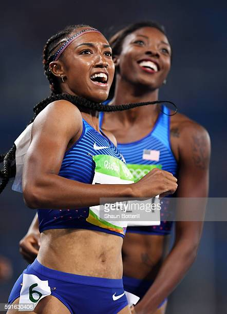 Brianna Rollins of the United States reacts after winning the gold medal in the Women's 100m Hurdles Final as silver medalist Nia Ali of the United...