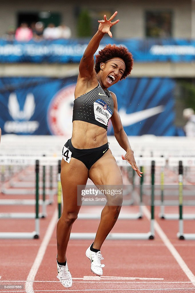 Brianna Rollins reacts after crossing the finishline to place first in the Women's 100 Meter Hurdles Final during the 2016 U.S. Olympic Track & Field Team Trials at Hayward Field on July 8, 2016 in Eugene, Oregon.