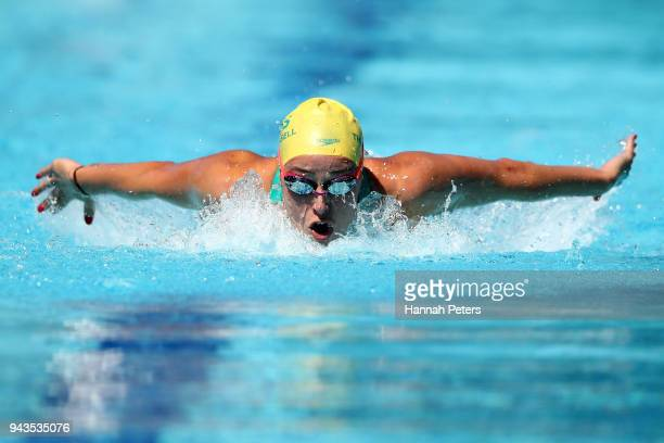Brianna Throssell of Australia competes during the Women's 200m Butterfly - Heat 1 on day five of the Gold Coast 2018 Commonwealth Games at Optus...