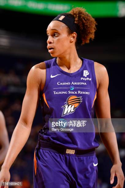 Brianna Turner of the Phoenix Mercury looks on during the game against the Connecticut Sun on August 14 2019 at Talking Stick Resort Arena in Phoenix...