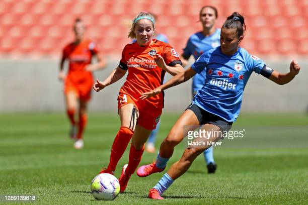 Brianna Visalli of Houston Dash defends Sarah Gorden of Chicago Red Stars during the second half in the championship game of the NWSL Challenge Cup...