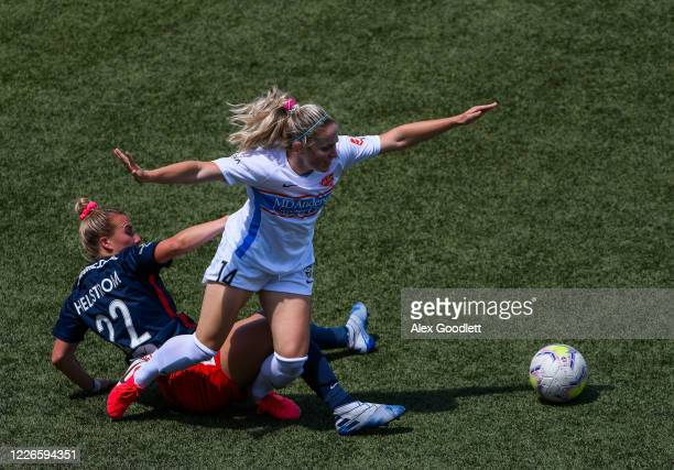 Brianna Visalli of Houston Dash fights for the ball with Jenna Hellstorm of Washington Spirit during day 7 of the NWSL Challenge Cup at Zions Bank...