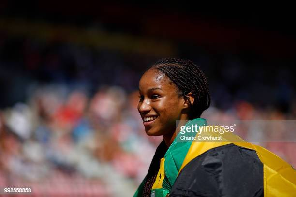 Brianna Williams of Jamaica celebrates after winning gold in the final of the women's 200m on day five of The IAAF World U20 Championships on July 10...