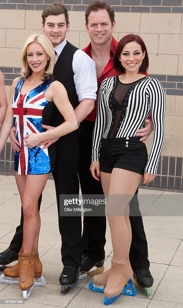 Brianne Delcourt, Matt Lapinskas and Kyran Bracken and his dancepartner attend a photocall for Celebritiess on Ice hours before the first show on the opening weekend was called off due to the ice in the arena melting. on April 19, 2013 in Birmingham, England.