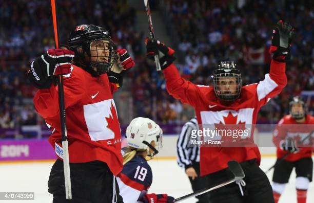 Brianne Jenner of Canada celebrates scoring a thirdperiod goal against the United States with teammate Catherine Ward during the Ice Hockey Women's...