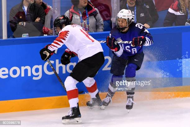 Brianne Jenner of Canada skates against Amanda Kessel of the United States in the first period during the Women's Gold Medal Game on day thirteen of...