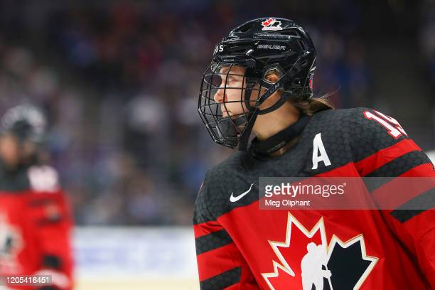Brianne Jenner of the Canadian Women's National Team in the game against the U.S. Women's Hockey Team at Honda Center on February 08, 2020 in...