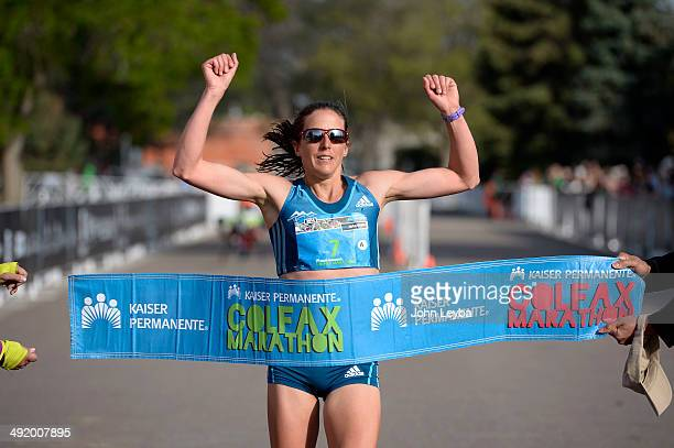 Brianne Nelson wins the women's 1/2 marathon with a time of 11607 during the 9th annual Colfax Marathon May 18 2014 The 262 mile Marathon runs...