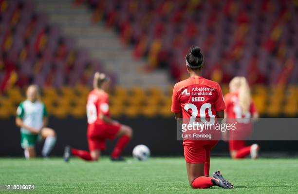 Brianne Reed of FC Nordsjalland and the other players of the two teams kneeling in respect for Black Lives Matters prior to the Danish Womens...