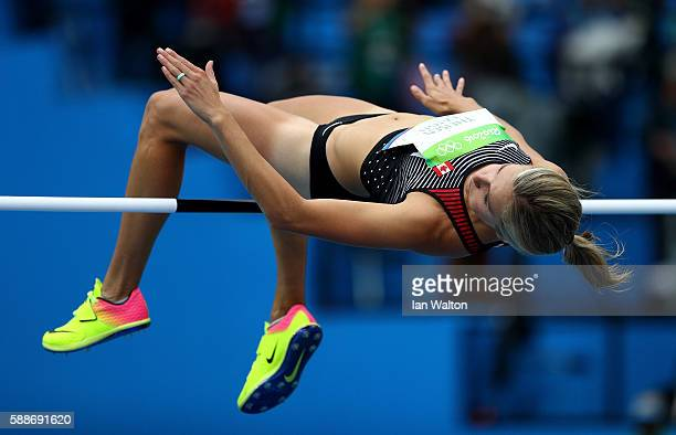 Brianne Theisen Eaton of Canada competes during the Women's Heptathlon High Jump on Day 7 of the Rio 2016 Olympic Games at the Olympic Stadium on...