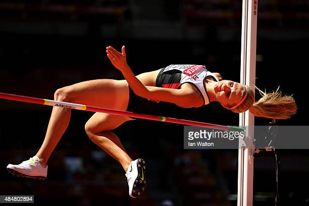 Brianne Theisen Eaton of Canada competes in the Women's Heptathlon High Jump during day one of the 15th IAAF World Athletics Championships Beijing...