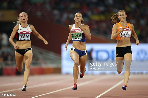 Brianne Theisen Eaton of Canada Jessica EnnisHill of Great Britain and Nadine Visser of the Netherlands compete in the Women's Heptathlon 200 metres...