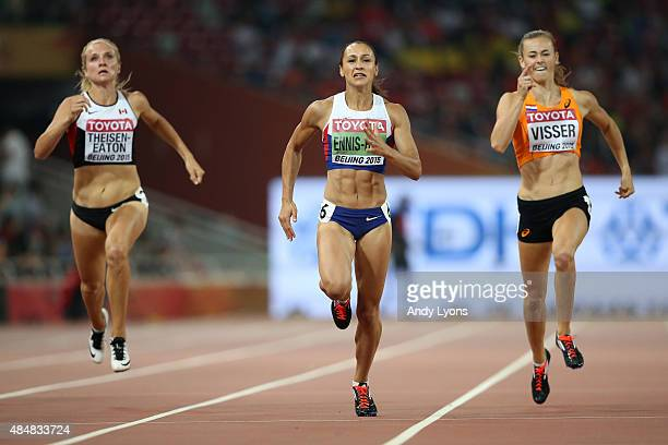 Brianne Theisen Eaton of Canada, Jessica Ennis-Hill of Great Britain and Nadine Visser of the Netherlands compete in the Women's Heptathlon 200...