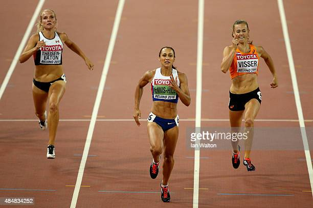 Brianne Theisen Eaton of Canada Jessica EnnisHill of Great Britain and Nadine Visser of the Netherlands cross the finish line in the Women's...