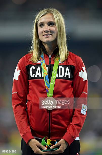 Brianne Theisen Eaton of Canada poses with the bronze medal for the Women's Heptathlon on Day 9 of the Rio 2016 Olympic Games at the Olympic Stadium...