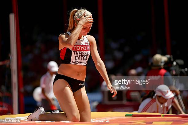 Brianne Theisen Eaton of Canada reacts after competing in the Women's Heptathlon High Jump during day one of the 15th IAAF World Athletics...